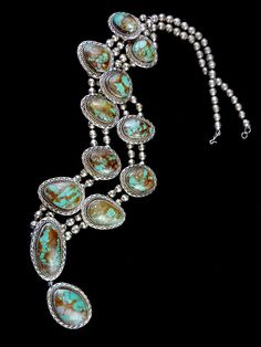 180g Old Pawn Vintage Navajo Sterling Silver Squash Blossom Pendant Necklace w 12 Large, Remarkably Gorgeous Royston Turquoise Stones!
