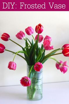 Frosted vase DIY using rubber bands and spray paint #diy #craft