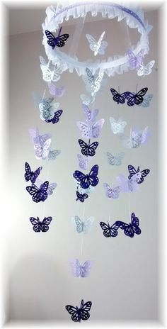 Lavender Purple Grey and White Butterfly Mobile by lovebirdslane