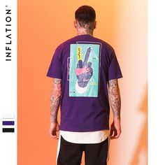 510783eb1 INFLATION Creator Plan Series victory signs graphic print funny t-shirt  Cotton 2018 Hip Hop T-Shirts Top Tees Men