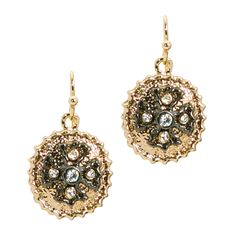 Classic gold jewelry never goes out of style. The Clothilde dangle earrings feature oval textured gold discs with rhinestones embedded in a hematite Celtic cross.  - Gold, hematite, CZ crystals