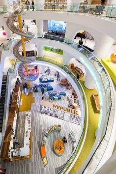 GAD architecture installs spiral slide inside istanbul mall - Istanbul Best of Istanbul, Turkey Shopping Mall Interior, Retail Interior, Mall Design, Retail Design, Shoping Mall, Atrium Design, Creative Kids Rooms, Architecture Concept Diagram, Luxury Office