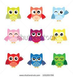 stock vector : Cute Owl Characters