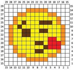 Blowing Kiss Emoji C2C Square and Pixel Graph