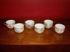 Antique Limoges H & Co. France Set of 6 HP Cups - Floral Motif & Artist Signed