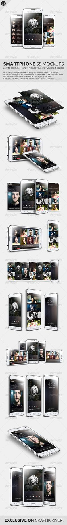 Smartphone S5 Mockups. Showcase Your Work in Style with these Android Smartphone Mockups + Save Time & Money!