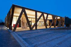 Wooden Facade, Wooden Gates, Pavillion Design, Wood Arch, Exhibition Space, Wood Slats, Facade House, Denmark, Architecture Design