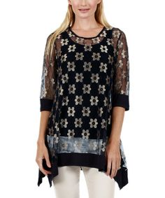 Look what I found on #zulily! Black & Gold Floral Asymmetrical Tunic by Lily #zulilyfinds