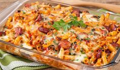 In the kitchen With Stefano Faita - Baked Ziti with Chorizo & Spinach Pasta Pizza, Pasta Bake, Spinach Recipes, Pasta Recipes, Healthy Recipes, Casserole Recipes, Chicken Recipes, Rhubarb Bbq Sauce, Veggie Cups