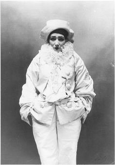"Photo of Sarah Bernhardt as Pierrot in Jean Richepin's ""Pierrot the Murderer"" (1883).  Photo by Atelier Nadar."