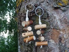 Rustic natural beach wooden keychains. Set of 2. by NatureElfsArt