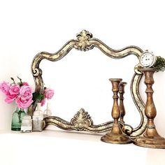 Gold Baroque Nursery Mirror Ornate Shabby Cottage by FarmHouseFare