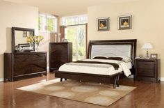 "5 pc Somerset collection dark wood finish with LED lighted padded headboard accents bedroom set . This set includes the Bed, nightstand, dresser, mirror and chest. Queen bed measures 92"" x 67.75"" x 59"" . Nightstand measures 33"" x 18"" x 30"" H. Dresser meas"