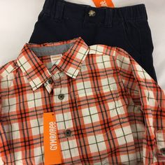 Gymboree Outfit Boys Size 18-24 Months 2T New with Tags Plaid Shirt & Pant New #Gymboree #Casual