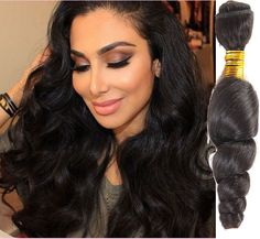 High Quality Black Loose Wave Raw Brazilian Human Hair Weft Extension Remy Hair #WIGISS #HairExtension