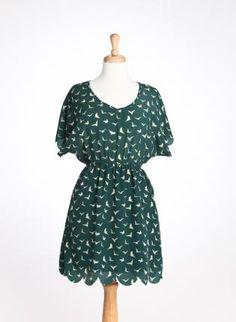 Green Birdie Day Dress,  Dress, birdy scallop green day dress, Casual