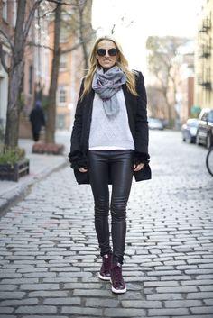 Nike sneakers, Celine Sunnies, Helmut Lang Leather Pants