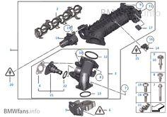 Intake manifold AGR with flap control, BMW Europe Parts Catalog, Europe, Bmw