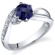 Ethereal Curves 125 carats Created Sapphire Ring in Sterling Silver Rhodium Nickel Finish Size 7 ** Check out the image by visiting the link.