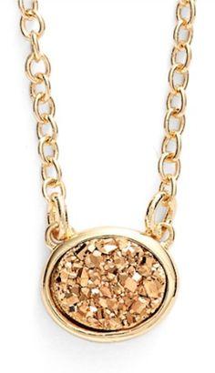 gold druzy pendant necklace