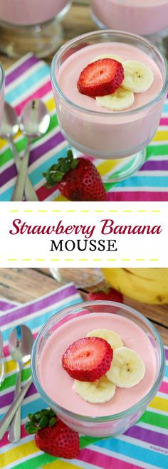 Strawberry Banana Mousse is a simple and easy recipe using jello, whipped topping and fruit. Creamy and smooth, and so entirely perfect for summertime! Strawberry Pudding, Strawberry Banana, Strawberry Recipes, Strawberry Smoothie, Jello Recipes, Baby Food Recipes, Sweet Recipes, Recipies, Small Desserts