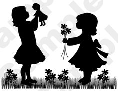 """Vintage """"Girls Playing Dolls"""" Silhouette Nursery Baby Children's Wall Mural measures 32.25"""" Tall and 23.50"""" Wide. **Also available in Medium Pink."""