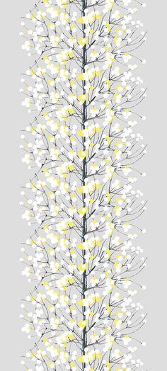Lumimarja cotton fabric by Marimekko Graphic Patterns, Textile Patterns, Textile Design, Color Patterns, Print Patterns, Illustrations, Graphic Illustration, Surface Pattern, Surface Design