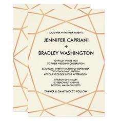 #stylish - #Geometric Rose Gold Modern Wedding Invitation
