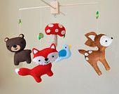 Hanging Woodland Creatures Mobile - Fox, Deer, Raccoon, Bear, and Tree. $70,00, via Etsy.
