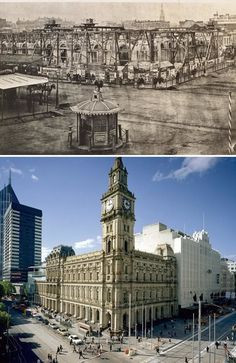 The Melbourne General Post Office being built in and how it looks today. Pictures: State Library of Victoria, Herald Sun archive Melbourne Architecture, Vintage Architecture, Ancient Architecture, Melbourne Victoria, Victoria Australia, Melbourne Australia, Australia Travel, Interesting Buildings, Places Of Interest