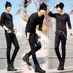 Spring mens korean designer black skinny jeans punk cool ligh wash super skinny chain pants for male Human Poses Reference, Pose Reference Photo, Drawing Reference, Estilo Tomboy, Goth Guys, Goth Men, Korean Fashion, Mens Fashion, Fashion Vest
