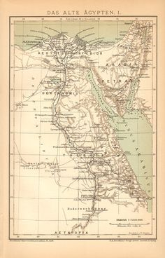 1894 Ancient Egypt and Thebes Original Antique Map