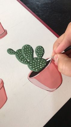 Painting Prickly Pears by Philip Boelter This is a satisfying gouache painting time lapse for inspiring people to paint and releasing anxiety See more live painting video. Cactus Painting, Cactus Art, Cactus Doodle, Giraffe Painting, Cactus Drawing, Cute Cat Drawing, Drawing Drawing, Cactus Plants, Drawing Ideas