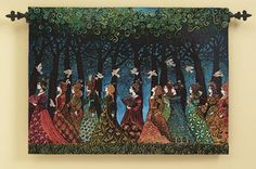 Women of the Sacred Grove Wallhanging:  Like a fragment of a lost legend, Emily Bailvet's artwork offers a tantalizing glimpse of an imminent event. Twelve ladies, in a variety of fine gowns, walk past a wood, a flock of doves swooping above. Where are the women going? What is the message of the birds?