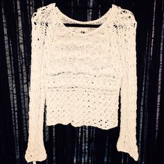 Lowest! Free People Crochet Long Sleeve ✨ Cream colored all over crocheted long sleeve. No flaws. Worn a few times but is in like new condition! Very intricate detailing. Free People Tops