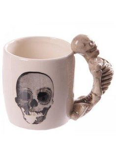 Novelty Skeleton Design Shaped Handle Mug Our shaped handle mugs are novel and come in a great range of themes and designs. Made from ceramics they will definitely be a talking point at the dinner table or in the office canteen. Novelty Mugs, Cool Mugs, Skull Print, E Design, Safe Food, Barware, Drinkware, Handle, Shapes