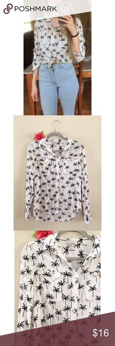 AE Plam Tree Button Down Top 🍍 Soft and flowy button down collared top from American Eagle! Features a black palm tree print on a classic white background. Comfy and breathable linen material, perfect for the spring and summer months! Has some wrinkles from storage but is in otherwise perfect condition! Size medium, fits more like a small! Modeled on a size xs :)  Measurements: Total Length (top of shoulder to bottom hem)- 23 inches (front), 26 (back) Bust- 17.5 inches flat across American…