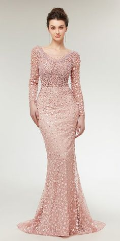 Stunning Lace Scoop Neckline Long Sleeves Mermaid Evening Dress With Beadings NEW! Stunning Lace Scoop Neckline Long Sleeves Mermaid Evening Dress Wit h Beadings Prom Party Dresses, Homecoming Dresses, Bridal Dresses, Bridesmaid Dresses, Dress Prom, Trendy Dresses, Fashion Dresses, Formal Dresses, Winter Dresses