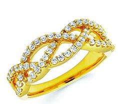 14K Yellow Gold  1/2 Ctw. Round-Cut Diamonds I color, I1 clarity 14K Yellow Gold Half Sizes 5-9 available