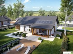 Projekt domu Kornel VI (z wiatą) energo - koszt budowy 165 tys. Small House Design, Modern House Design, Future House, My House, Modern Bungalow House, Simple House Plans, Bungalows, Home Design Plans, Facade House