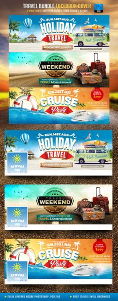 Travel Bundle Facebook Cover Template PSD #design Download: http://graphicriver.net/item/travel-bundle-facebook-cover/11875511?ref=ksioks