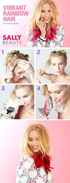 Get Vibrant, Rainbow Hair in 4 Easy Steps. A dazzling pop of color will make heads turn, and it's easy to do. Simply divide your hair into sections, secure it, and use foil to hold the lightener in place. Rinse and dry, then apply color, let it sit, and rinse. Lock-in your color with an after-color treatment. #sallyhairdare