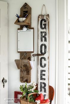 Reclaimed wood message centre and Grocery sign / FunkyJunkInteriors.net