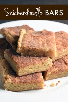 Snickerdoodle cookies in bar form. Chewy, buttery, and cinnamon-y. Good luck only eating one!