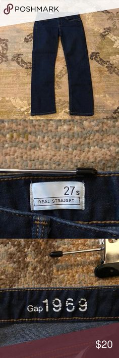 Like new 1969 GAP jeans Like new Gap 1968 dark denim wash jeans. My mother gave them to me thinking it would inspire me to loose more weight. That it did not - they simply sat in a closet and never got worn. Now that I have a posh closet I'm wanting to pass them onto someone who will wear them and love them! They really are like new, absolutely nothing wrong with them. Measures15inches across the waist and a 27 inch inseam. I never tried them on (thanks birthing hips!) but I can tell they…