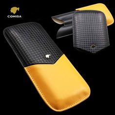 Cheap case case, Buy Quality case black directly from China case cohiba Suppliers: COHIBA Classic High Quality Portable Black and Yellow Embossed Leather Extension-type Cigar Case Yellow Leather, Black N Yellow, Leather Cigar Case, Cigar Cases, Marshalls, Portable, Cigars, Relief, Imagination
