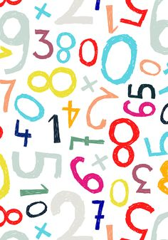 mixed up numbers pattern by Minakani Kids Patterns, Pretty Patterns, Textures Patterns, Surface Pattern, Pattern Art, Pattern Design, Numbers For Kids, Alphabet And Numbers, Kids Background