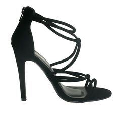 Wonder-4 Black Strappy Single Sole Zipper Back High Heels
