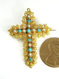 Antique Georgian English 18K Gold Pearl Turquoise Cannetille Cross Pin C1830 | eBay