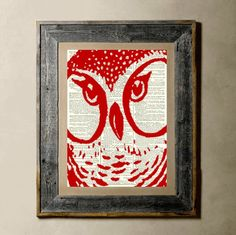 Owl(Red) - Printed on a Vintage Dictionary Page 8X10